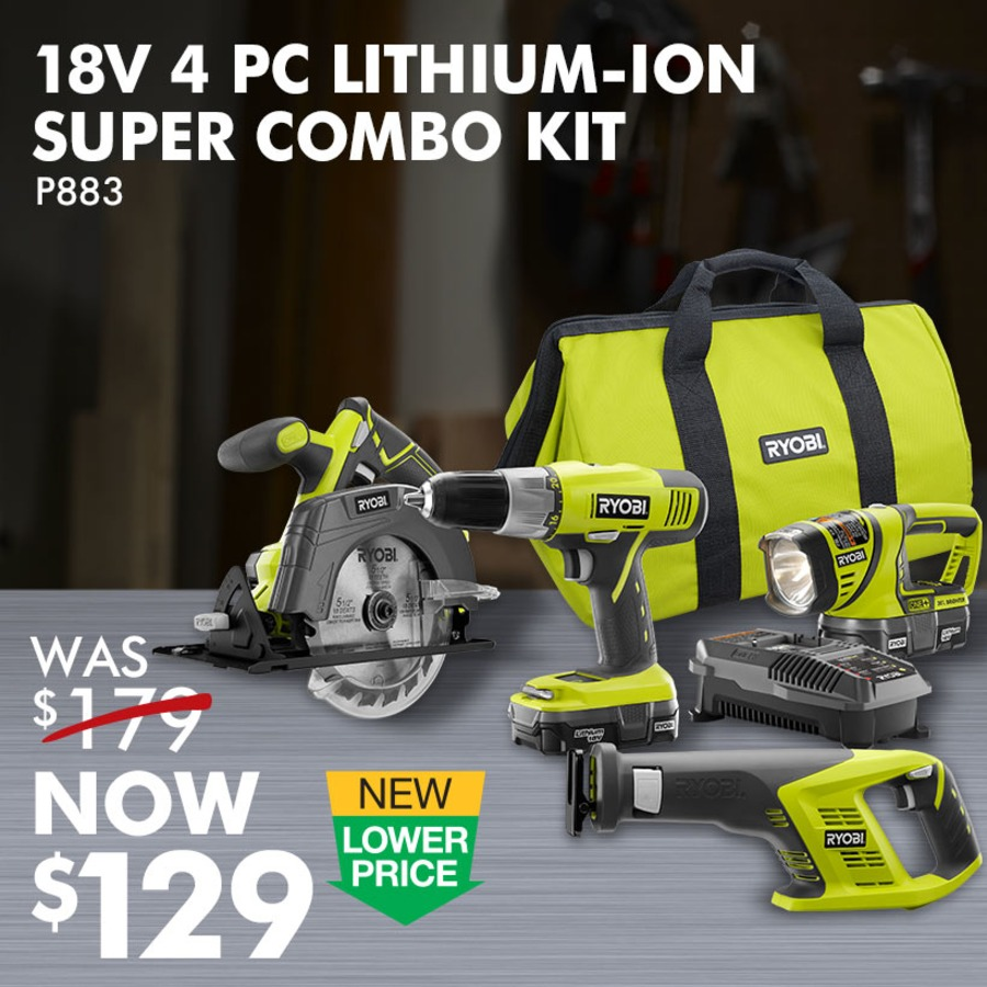 18V ONE+™ 4 Pc. Lithium-Ion Super Combo Kit