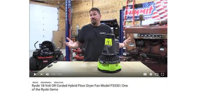 Photo: Ryobi 18-Volt OR Corded Hybrid Floor Dryer Fan Model P3330 Review
