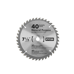 "(1) 7-1/4"" 40-Tooth Carbide Tipped Blade"