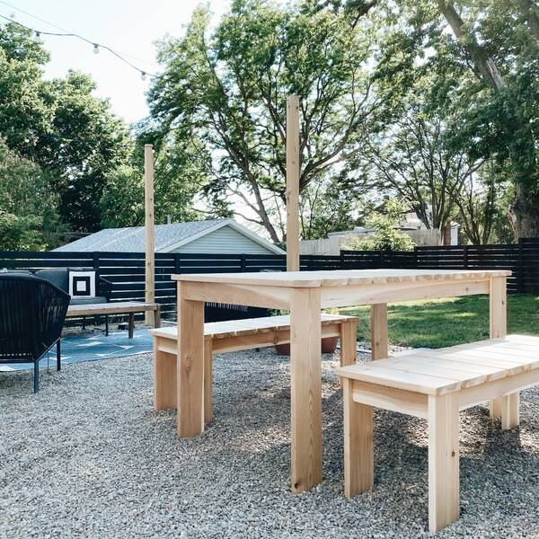 Photo: Patio Dining Table and Bench Set