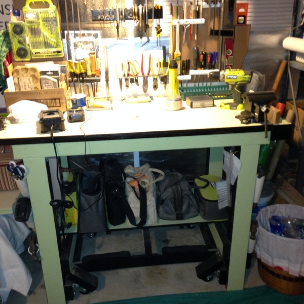 Photo: Work bench and tool holder