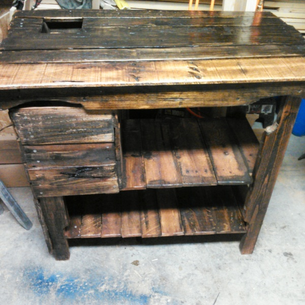 Photo: Coffee/Tea sampling reclaimed table with trsh bin