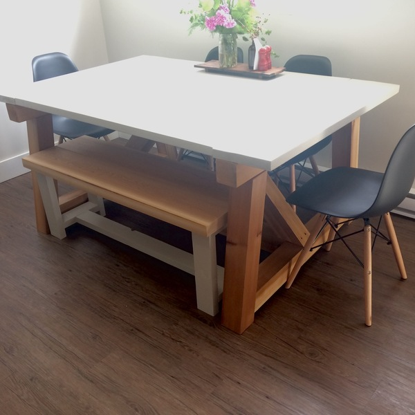 Photo: Dining room table with bench