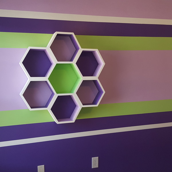 Photo: Purple & Lime Hexagon and Room