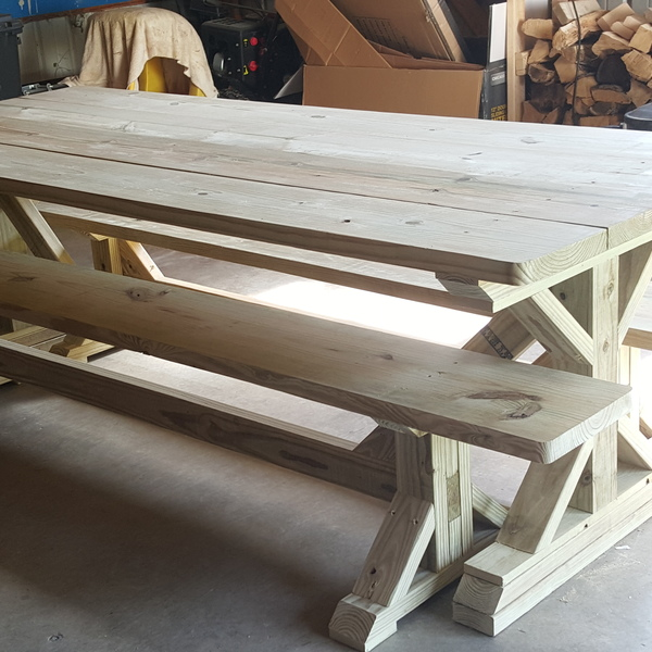 Photo: Farmhouse style picnic table