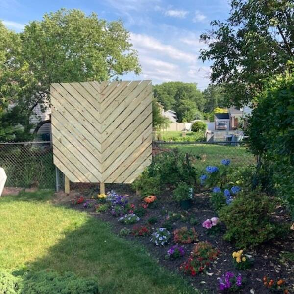 Photo: Chevron privacy garden wall