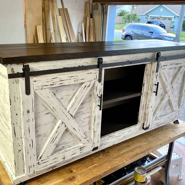 Photo: Rustic farmhouse media console