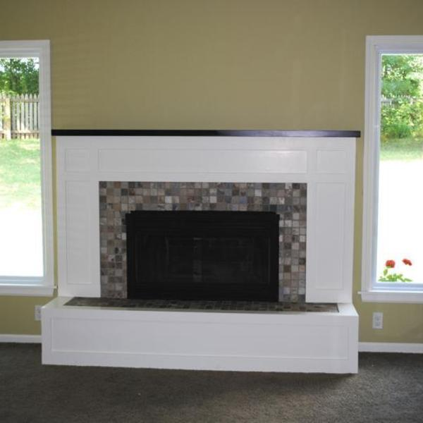 Photo: Fireplace wall remodel - adding light to the cave