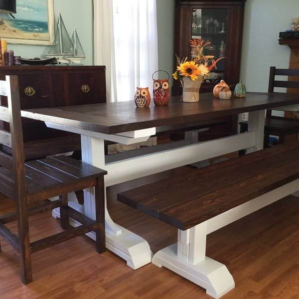 Photo: Triple Pedstal Table and benches
