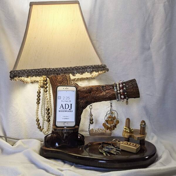 Photo: TREE BRANCH LAMPSHADE WITH PHONE DOCKING STATION, VALET & JEWELRY ORGANIZER