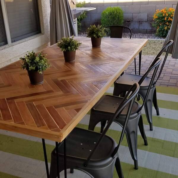 Photo: 7 Foot Herringbone Patio Table