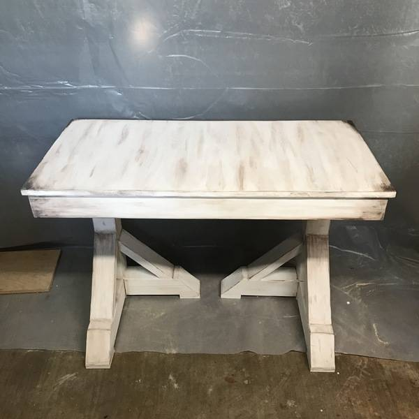 Photo: Rustic style white distressed desk