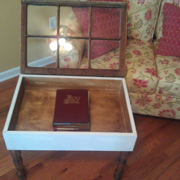 Photo: Upcycled Antique Window Shadowbox Table