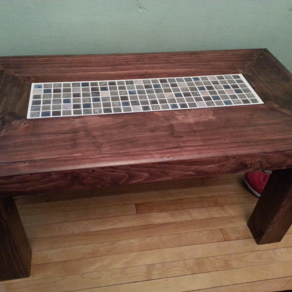 Photo: coffee table with tile inlay center