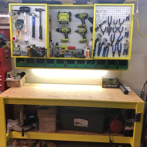 Photo: Garage Work Bench with Tool Storage Cabinet