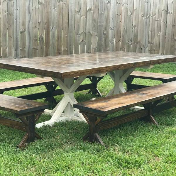 Photo: Farmhouse Table w/Benches