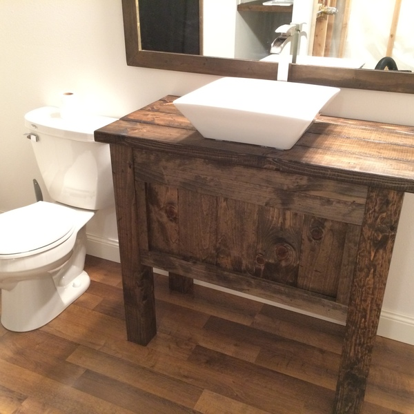 Rustic Farmhouse Bathroom Vanity With Vessels Sink And