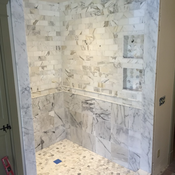 Photo: White Marble Shower