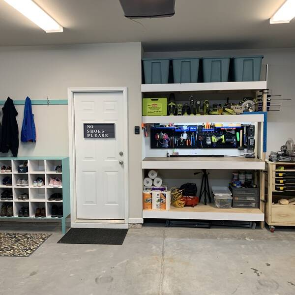 Photo: Garage storage and Work Bench