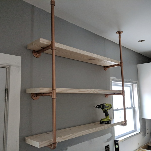 Pipe Shelves Kitchen: Copper Kitchen Pipe Shelves