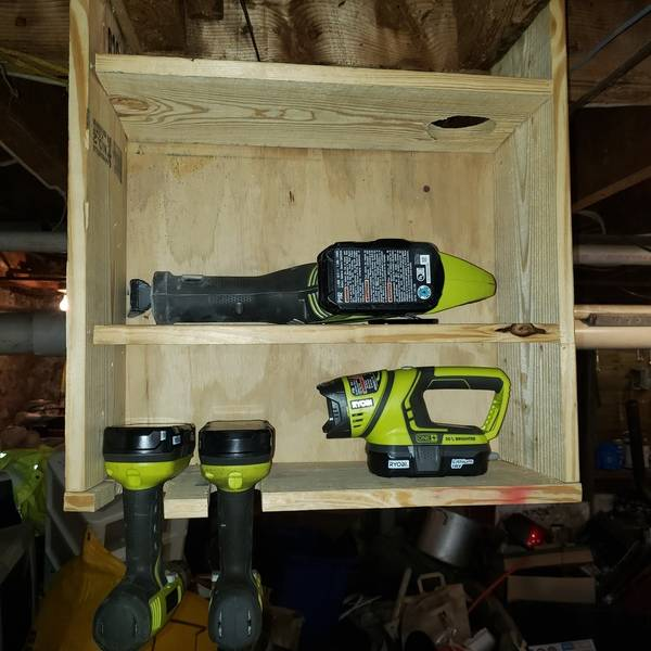 Photo: Cordless tool shelf