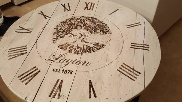 RECLAIMED CEDAR CLOCK TABLE - PERSONALIZED