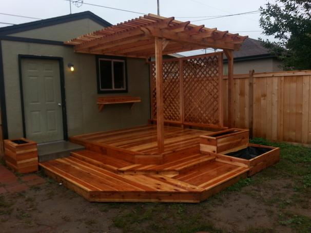 Redwood Deck, planter boxes and pergola