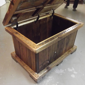 Reclaimed Barn Wood Toy Box for a living room