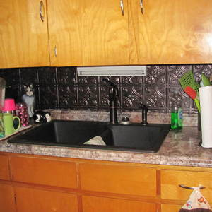 kitchen sink, back splash, counter tops, new floor