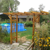 Lighted Pergola with removable Granite Bench
