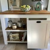 Butcher Block Island With Roll Out Trash Drawer
