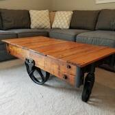 Coffee Table From 1930s Furniture Cart And 1880s Barn Wood